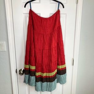 Boden Sz 12 Regular Red Long Silk Crinkle Skirt